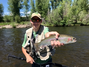 Jared with a nice rainbow on the Gunnison River